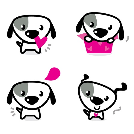 black dog: Cute dog collection - little dogs with pink hearts. Vector Illustration. Illustration