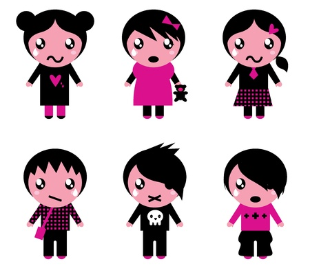 goth: Collection of emo teen characters. Vector Illustration Illustration