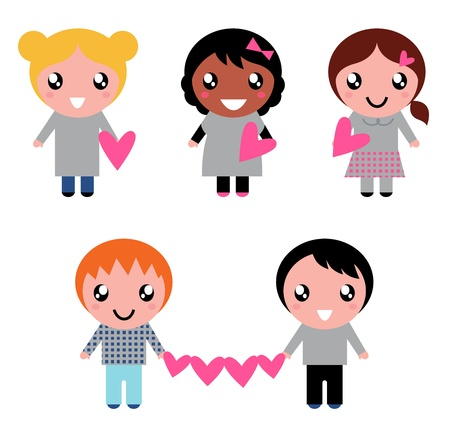 kids drawing: Multicultural kids holding valentines hearts. Vector cartoon