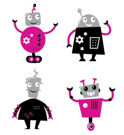 cartoon science: Cute cartoon robot characters. Vector collection.
