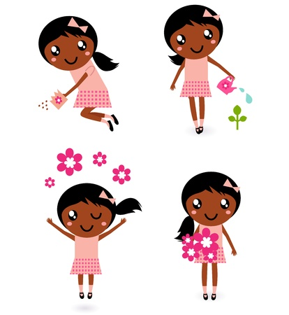 kindergarden: Cute spring dark skin child collection. Vector cartoon Illustration