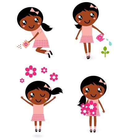 regar las plantas: Primavera lindo niño de piel oscura colección. Vector de dibujos animados