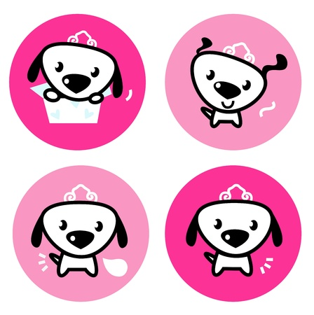 Little dog princess collection. cartoon buttons Vector