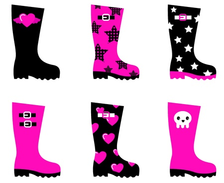 Wellington boots in emo style. cartoon collection Vector