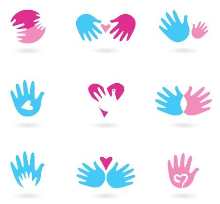 manos logo: El amor y la amistad conjunto de iconos. Ilustración estilizada