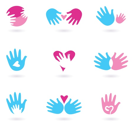heart hands: Love and friendship icon set. Stylized Illustration Illustration