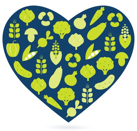 Vegetable heart isolated on white. Vector Vector