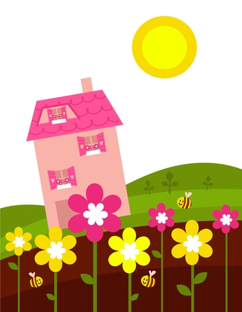 pink hills: School in spring nature. cartoon illustration.