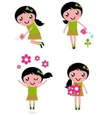 regar las plantas: Niña linda con flores de primavera aislados en blanco
