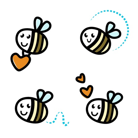Funny Bee collection. retro Illustration. Vector