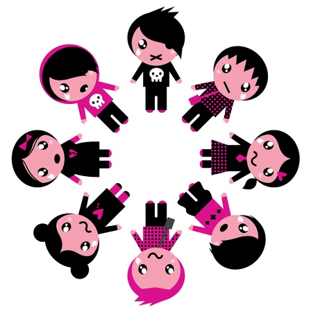 Cute retro emo kids group. Vector Illustration. Vector