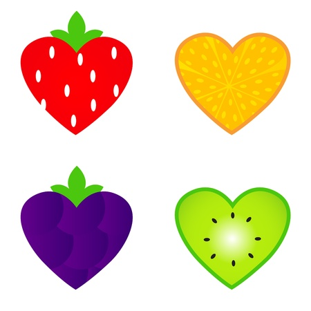 Fresh fruit for Valentines day. Vector illustration. Vector