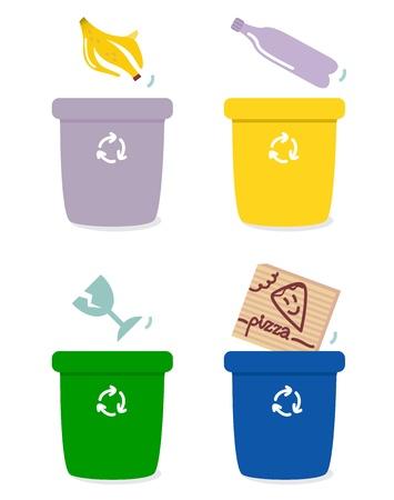 recycle bin: Los cuatro cuadros de la separación de la basura común. Ilustración vectorial