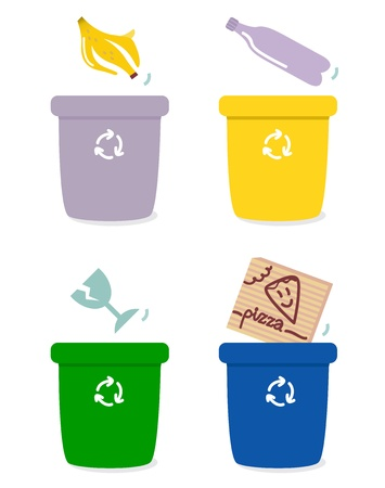 recycling bottles: The four separation boxes for common garbage. Vector Illustration Illustration