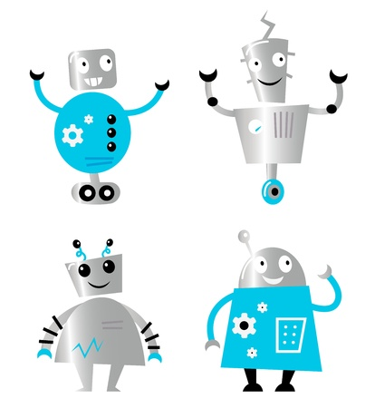 scifi: Cute cartoon robot characters. Vector collection.