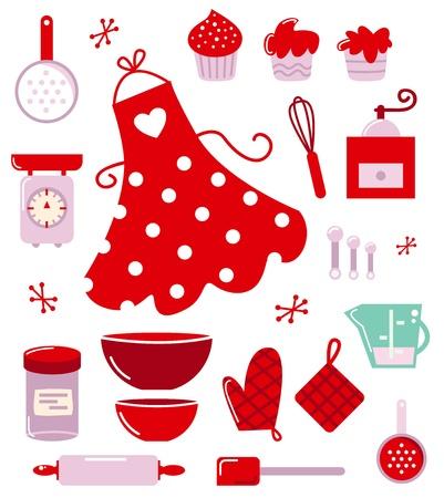 Retro set voor het bakken of koken. Stock Illustratie