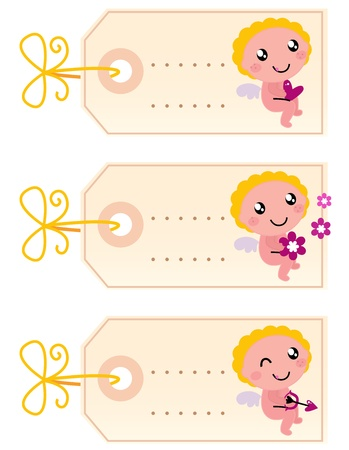 Retro tags collection for your Valentine's Day. Cartoon Illustration.  Vector