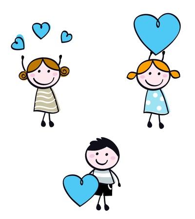 귀여움: 발렌타인 하트와 귀여운 낙서 아이.
