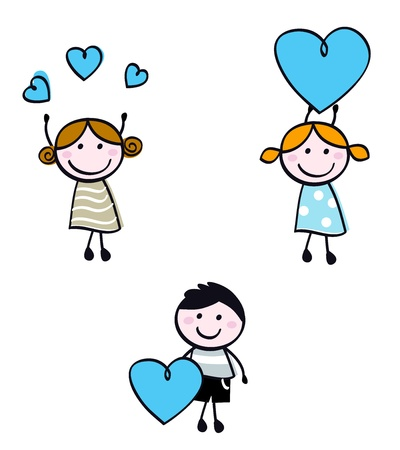 Cute doodle children with valentines hearts.  Vector