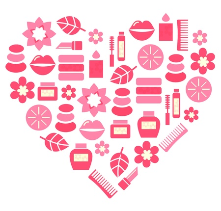 Stylized pink heart.  Vector
