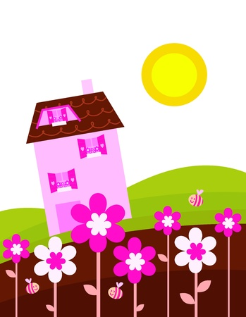pink hills: Village house in spring nature.