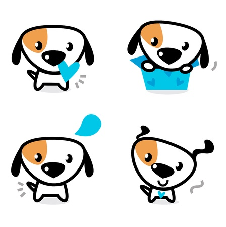 funny image: Cute dog collection - little dogs with pink hearts.  Illustration