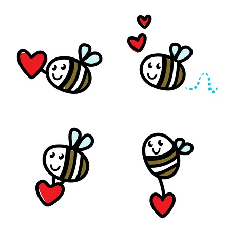 Doodle flying bee set. Vector