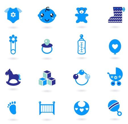 teteros: Iconos de tela y accesorios que marcan para el beb�. Ilustraciones Vectoriales Vectores