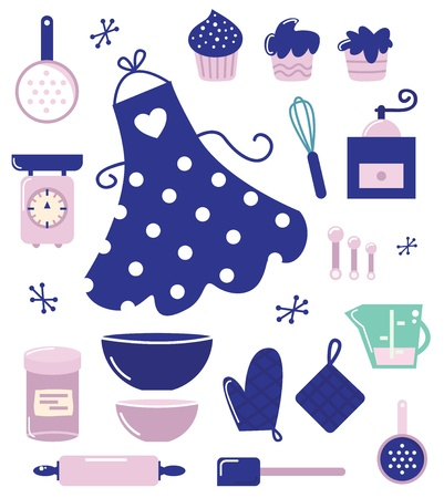 Retro set for baking or cooking. Vector Illustration Vector