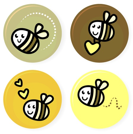 Vector set of happy bee characters. Vector