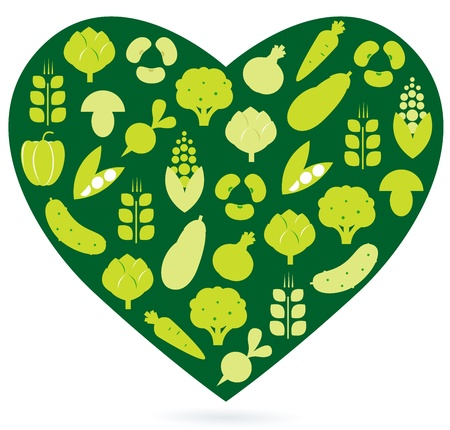 Vegetable heart isolated on white. Vector Vector