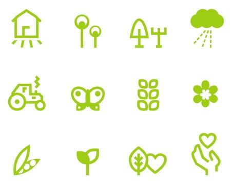 Farming, vegetarian & agriculture icon set. Vector Illustration