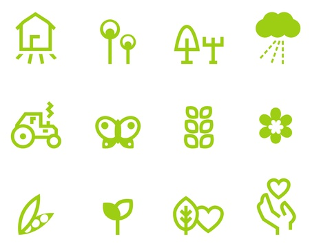 Landbouw, vegetarische en landbouw icon set. Vector Illustratie
