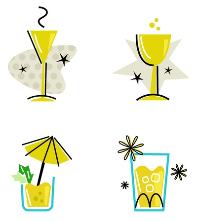 Hand drawn retro drinks set. Vector Illustration Vector