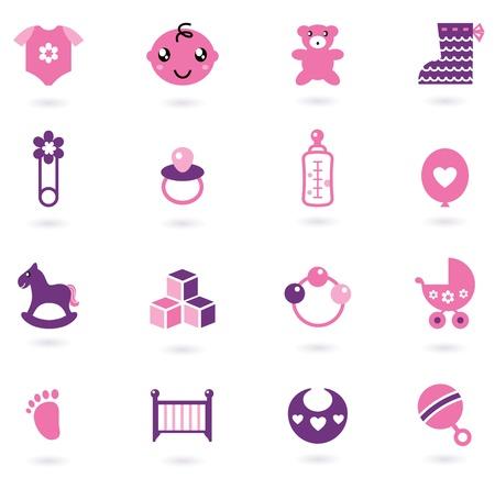 teteros: Iconos de tela y los accesorios fijado para niña. Ilustraciones Vectoriales