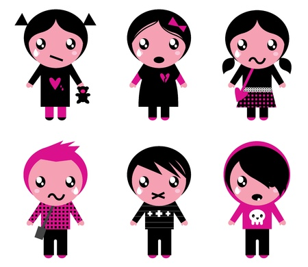 Six cute stylized teenegers  in emo style. Vector retro Illustration. Vector