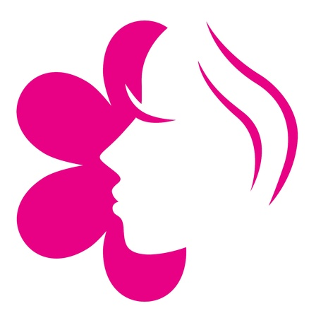 Woman face icon or design element. Vector Vector