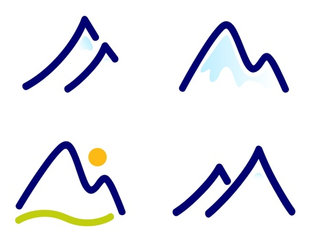 resorts: Winter mountains vector icons.