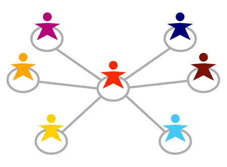 Different multiracial people team connect together. Vector Vector