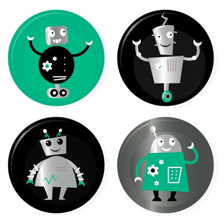 robot arm: Happy robots friends badges. Vector cartoon Illustration.