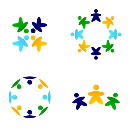 la union hace la fuerza: Iconos del equipo aislado en blanco. Vector