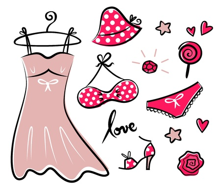 femme: Vector doodle set of red fashion accessories or items for woman. Illustration