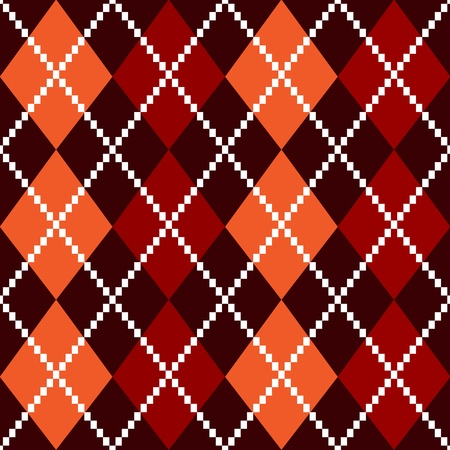 woolen cloth: Retro colorful colorful argile pattern - orange and red