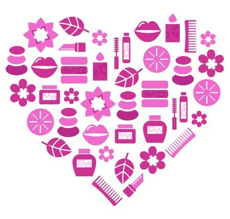 Stylized pink heart. Vector illustration.