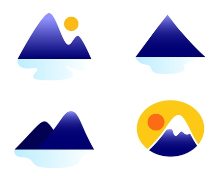 hill: Blue mountains vector icons.