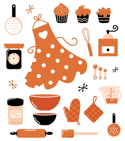 aprons: Black and orange retro baking set. Vector Illustration