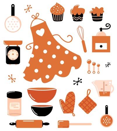 Black and orange retro baking set. Vector Illustration