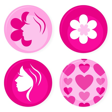 cosmetics collection: Pink femine symbols or badges. Vector Illustration.