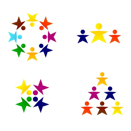 teamwork together: Vector abstract business people icons.