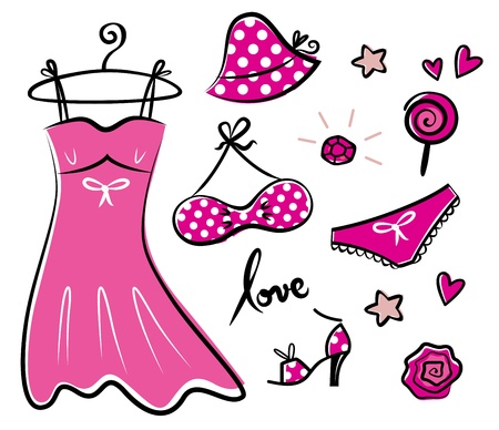 femme: Vector doodle set of pink fashion accessories or items for woman.